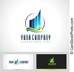 Real Estate Logo Design. Skyscraper abstract real estate icon logo and business card template.