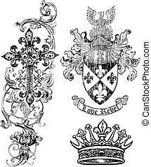 realeza, crucifixos, escudo, coroa, elemento