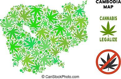 realeza liberta, cannabis, hojas, composición, camboya, mapa
