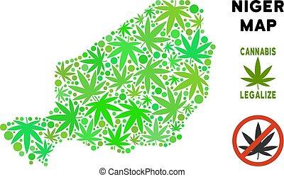realeza liberta, cannabis, hojas, composición, níger, mapa