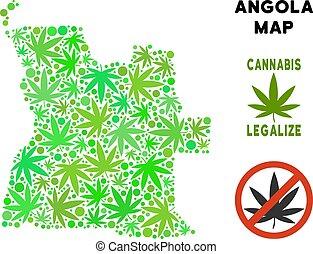 realeza liberta, cannabis, hojas, mosaico, angola, mapa