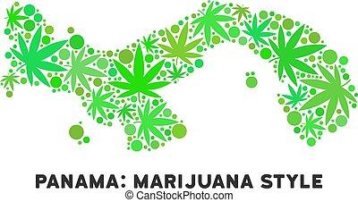 realeza liberta, cannabis, hojas, mosaico, panamá, mapa