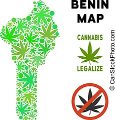 realeza liberta, marijuana, hojas, collage, benin, mapa