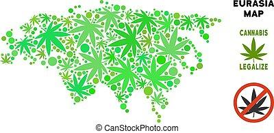 realeza liberta, marijuana, hojas, collage, eurasia, mapa