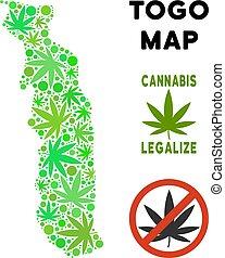 realeza liberta, marijuana, hojas, composición, togo, mapa