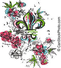 realeza, logotipo, flor