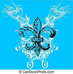 realeza, símbolo, com, scroll, fundo