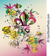 realeza, símbolo, gráfico, flores