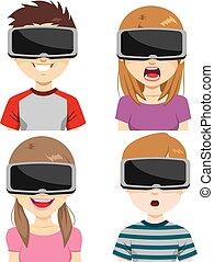 realidad, auriculares, virtual, expresiones