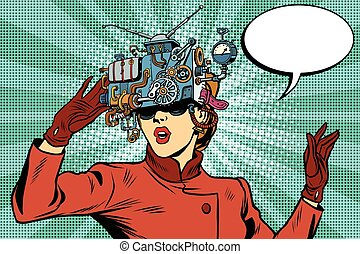 realidad virtual, anteojos, retro, niña, ciencia ficción