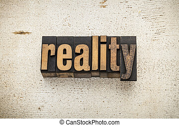 realidade, palavra, em, madeira, tipo