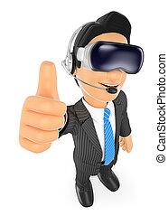 realidade virtual, vr, glasses., homem negócios, 3d