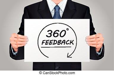 realimentação, cartaz, conteúdo, segurando, homem negócios, 360