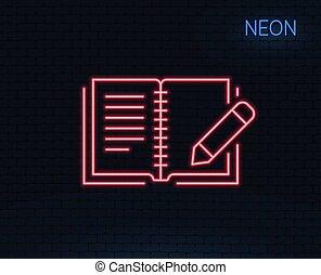 realimentação, linha, icon., livro, com, lápis, sinal.