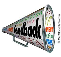 realimentação, megafone, bullhorn, opinião, compartilhar