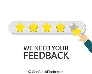 realimentação, ouro, dar, mão, satisfação, qualidade, cliente, work., positivo, concept., review., segurando, avaliação, feliz, estrela, ilustração, five., clients., system., vetorial, homem negócios, rating.
