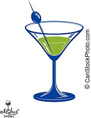 realista, 3d, cristal de martini, con, aceituna, baya,...