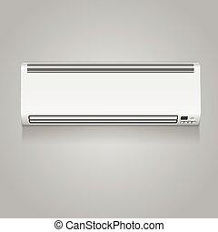 realista, acondicionador de aire, vector