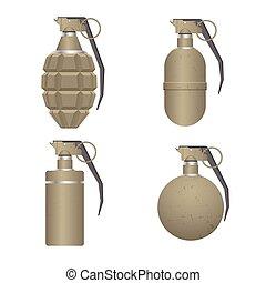 realista, blanco, aislado, mano, plano de fondo, conjunto, granada