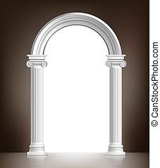 realista, blanco, arco