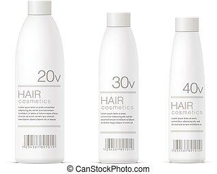 realista, blanco, cosméticos, botella