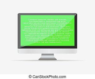 realista, blanco, monitor de la computadora, icon.,...