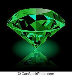 realista, brillar, verde, joya, esmeralda