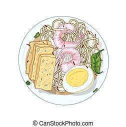 realista, broth., huevo, tallarines, tradicional, har, blanco, aislado, menú, plato, gastrónomo, cantó, delicioso, vector, cocina, element., fondo., diseño, arroz, restaurante, malayo, gamba, illustration.