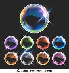 realista, burbujas, transparente, jabón