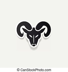 realista, cabeza, carnero, diseño, element: