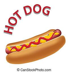 realista, caliente, vector, perro, ilustración