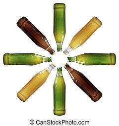 realista, cerveza, botellas