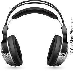 realista, computadora, auriculares