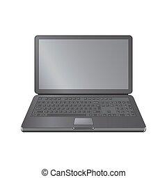 realista, computadora de computadora portátil, cuaderno, en, aislado, en, un, blanco, fondo.