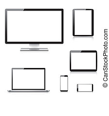 realista, computadora, tableta, computador portatil