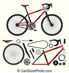 realista, conjunto, bicicleta, partes