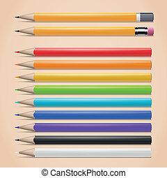 realista, conjunto, lápices