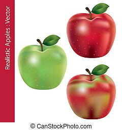 realista, conjunto, manzanas