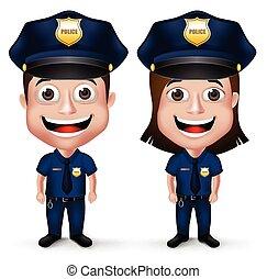 realista, conjunto, policía, caracteres, 3d