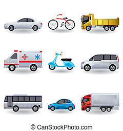 realista, conjunto, transporte, iconos