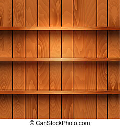 realista, de madera, estantes