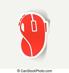 realista, diseño, element:, ratón de la computadora