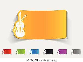 realista, diseño, element., violín