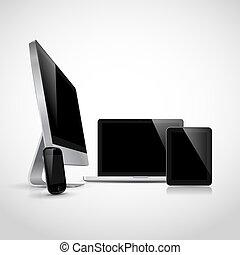 realista, dispositivos, vector, electrónico