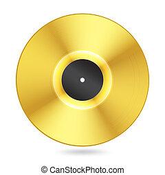 realista, dorado, disco del vinilo, blanco