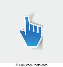 realista, element:, cursor, diseño, mano