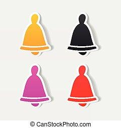 realista, element:, diseño, navidad, campana