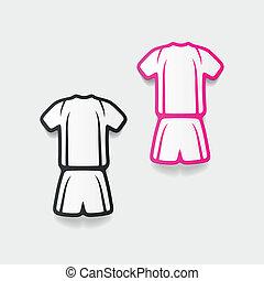 realista, element:, fútbol, diseño, ropa