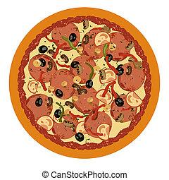 realista, fondo blanco, ilustración, pizza