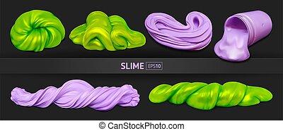 realista, fondo púrpura, limos, conjunto, negro, verde